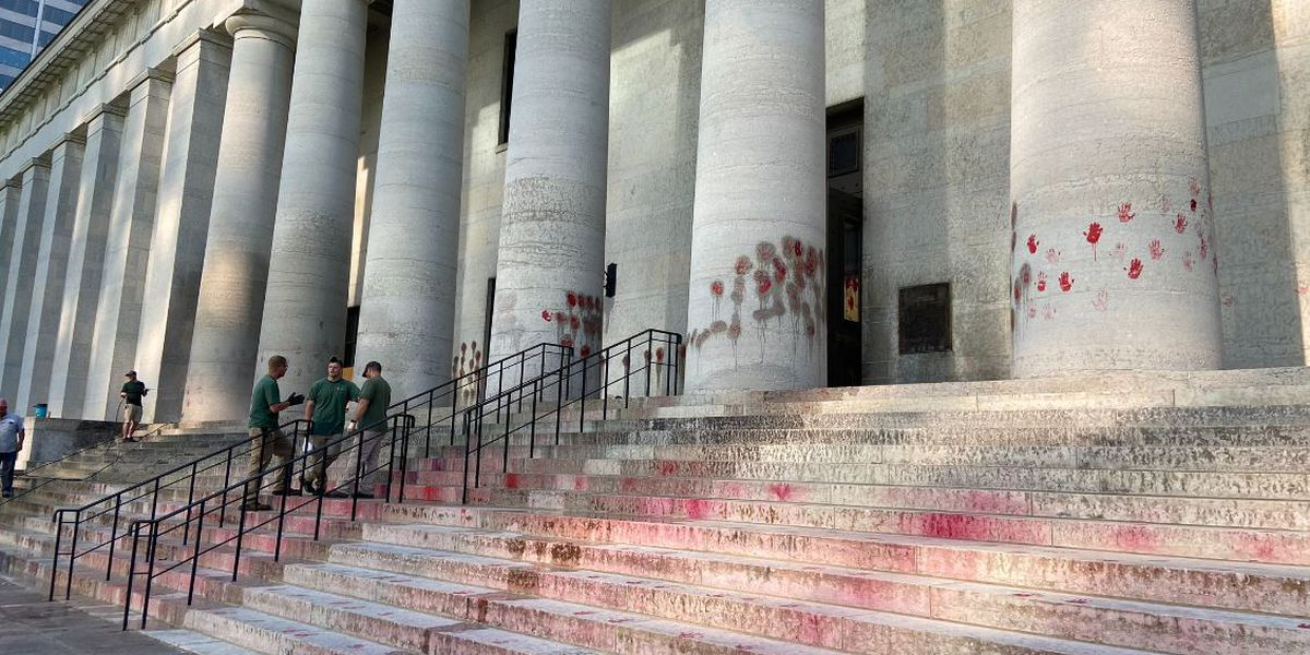After Ohio Statehouse vandalized with red hands, lawmakers criticize Gov. Mike DeWine and Ohio State Highway Patrol