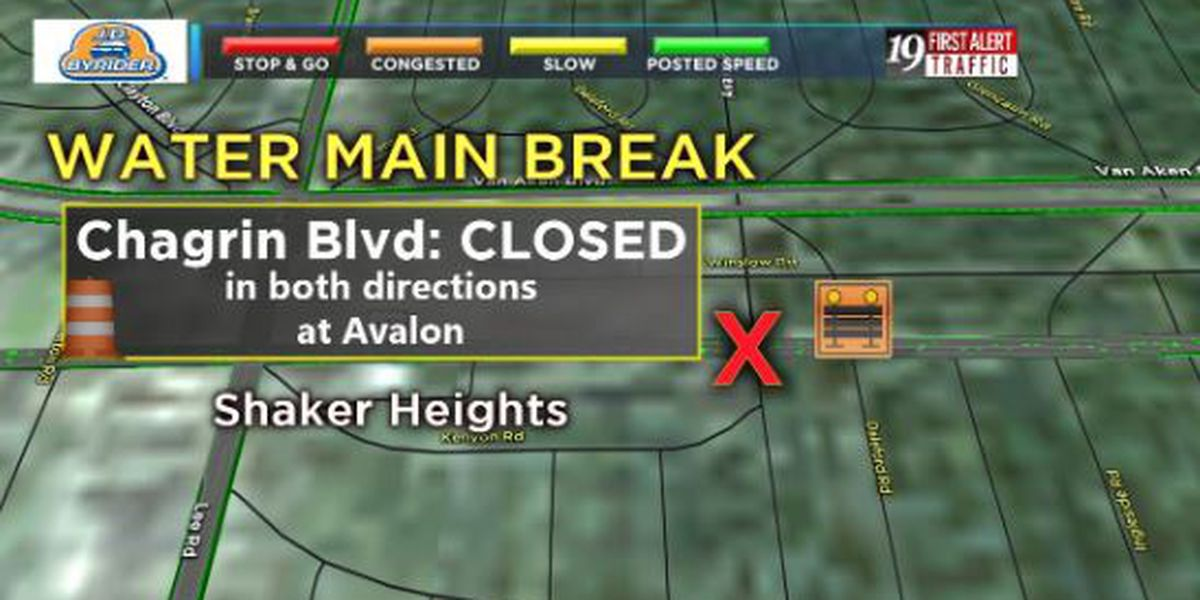 Water main break closes section of Chagrin Boulevard in Shaker Heights
