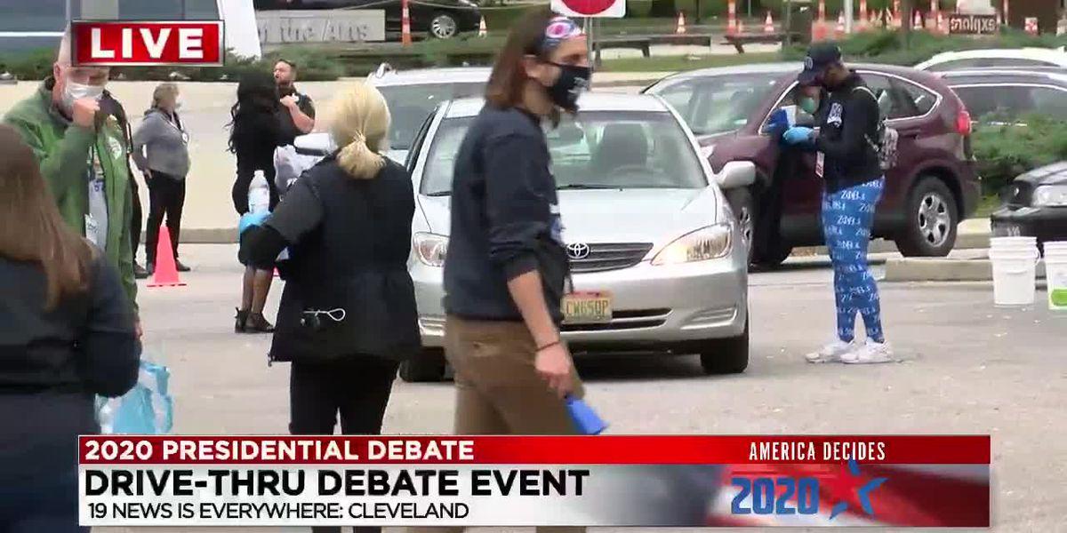 Ohio Democrats hold drive-thru debate celebration for former Vice President Biden's arrival in Cleveland