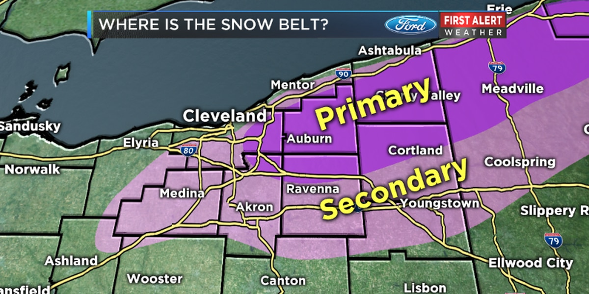 Where is the Lake Erie snow belt in Ohio?