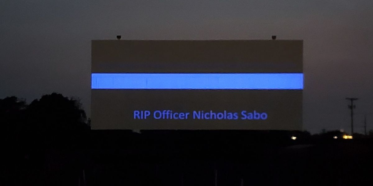 North Ridgeville Aut-O-Rama Drive-In Theatre honors Cleveland Police Officer Nick Sabo after his funeral