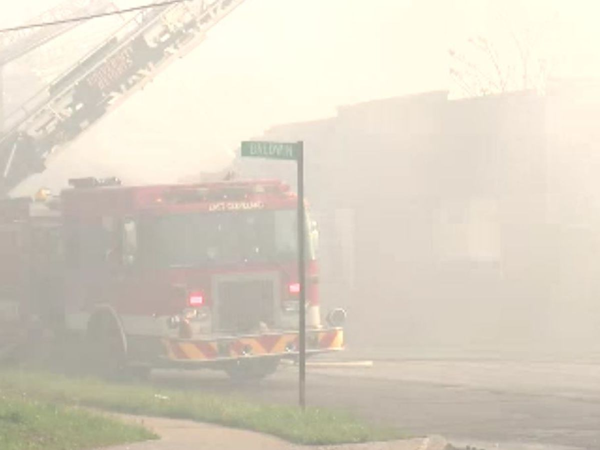 Abandoned building blaze in East Cleveland sends plumes of smoke into the air