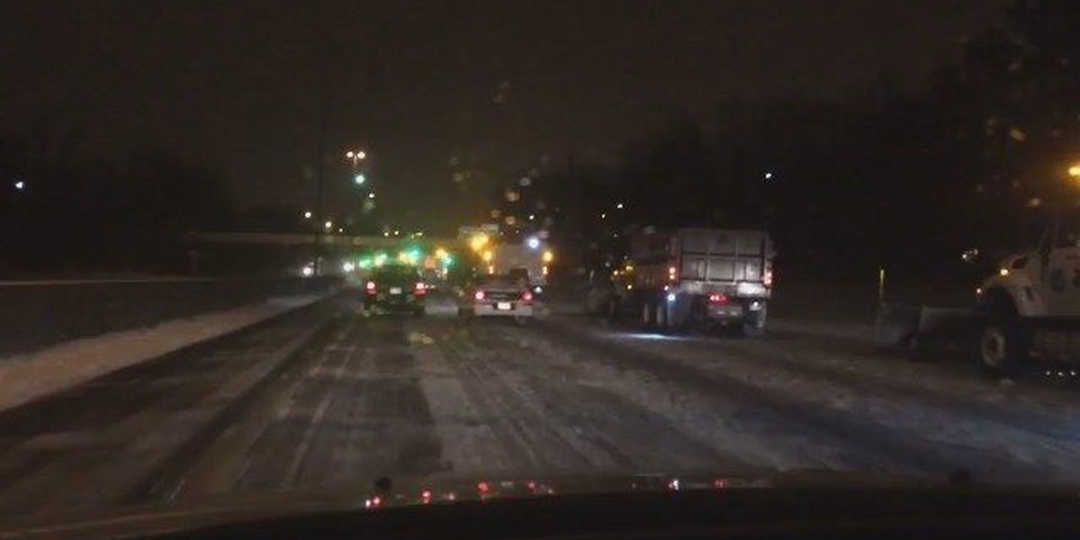 Wall of snow plows formed to clear roadways