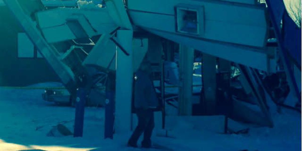 Gas station awning collapses