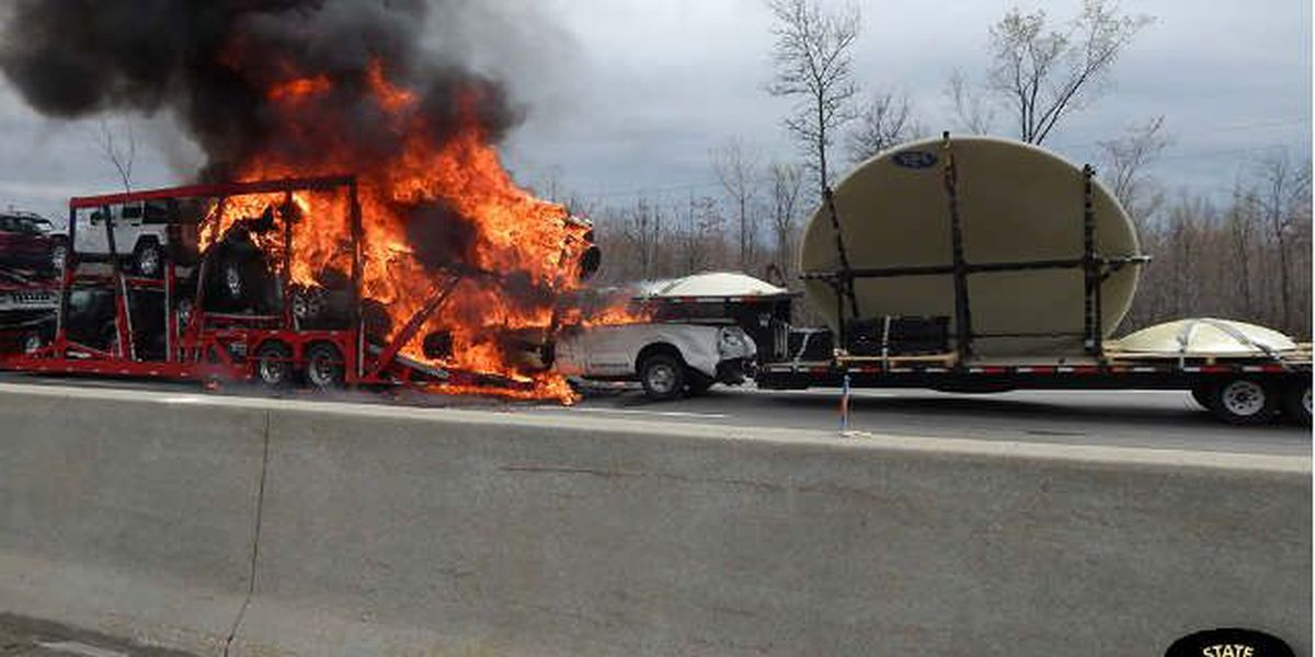 No one seriously injured after fiery Ohio Turnpike crash