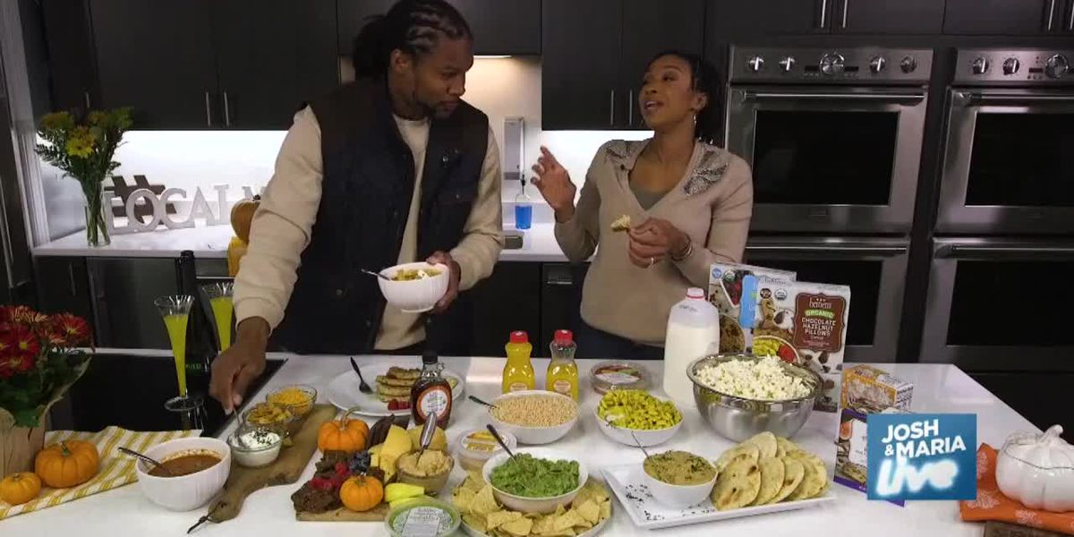 Josh and Maria sample a holiday season spread from Heinen's