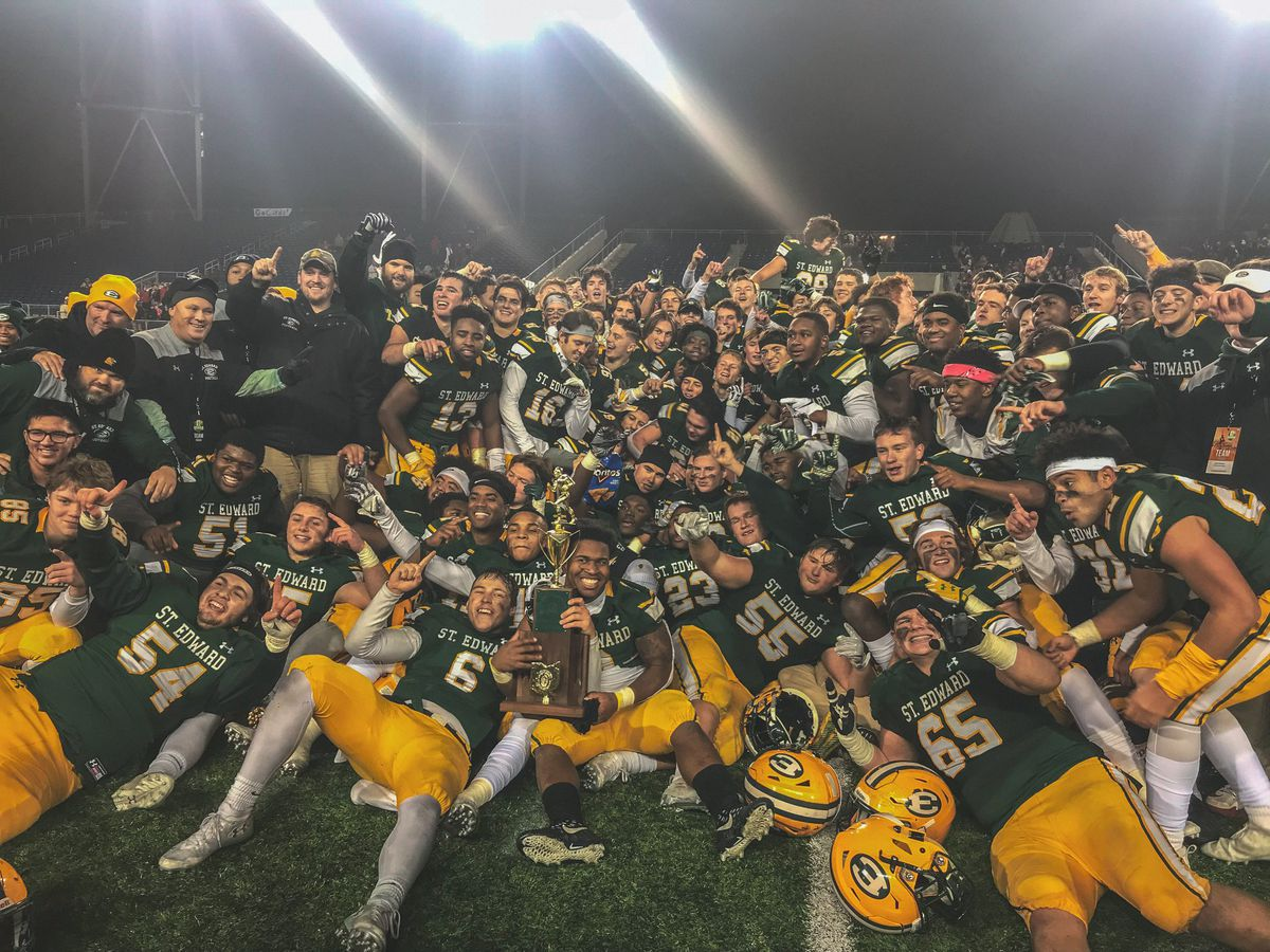 St. Edward Eagles football team celebrates Ohio championship with high school rally