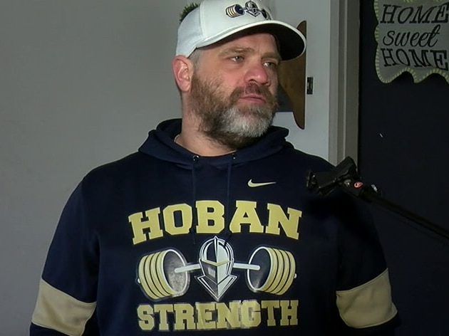 Trading barbells for broomsticks, Hoban athletes get strong at home