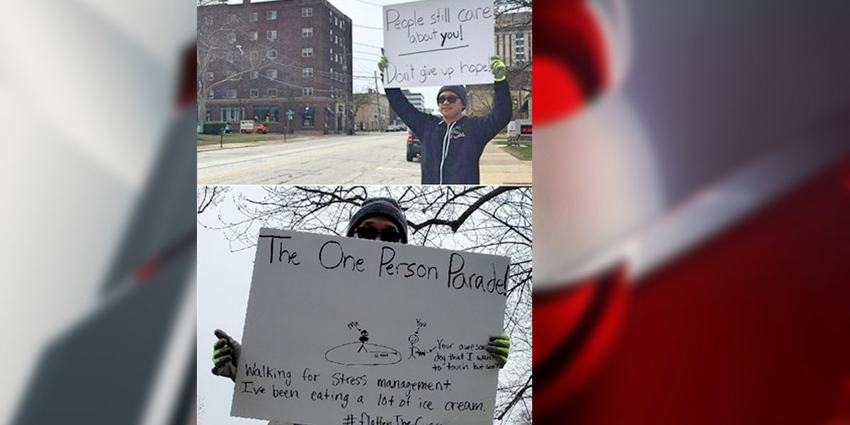 Lakewood man inspires during COVID-19 pandemic with one-man parades and signs of hope