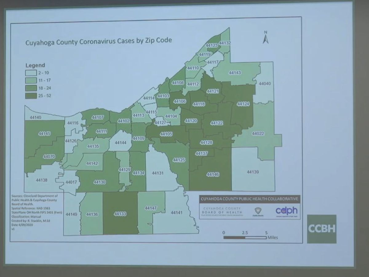 Here are the coronavirus cases in Cuyahoga County broken down by zip code
