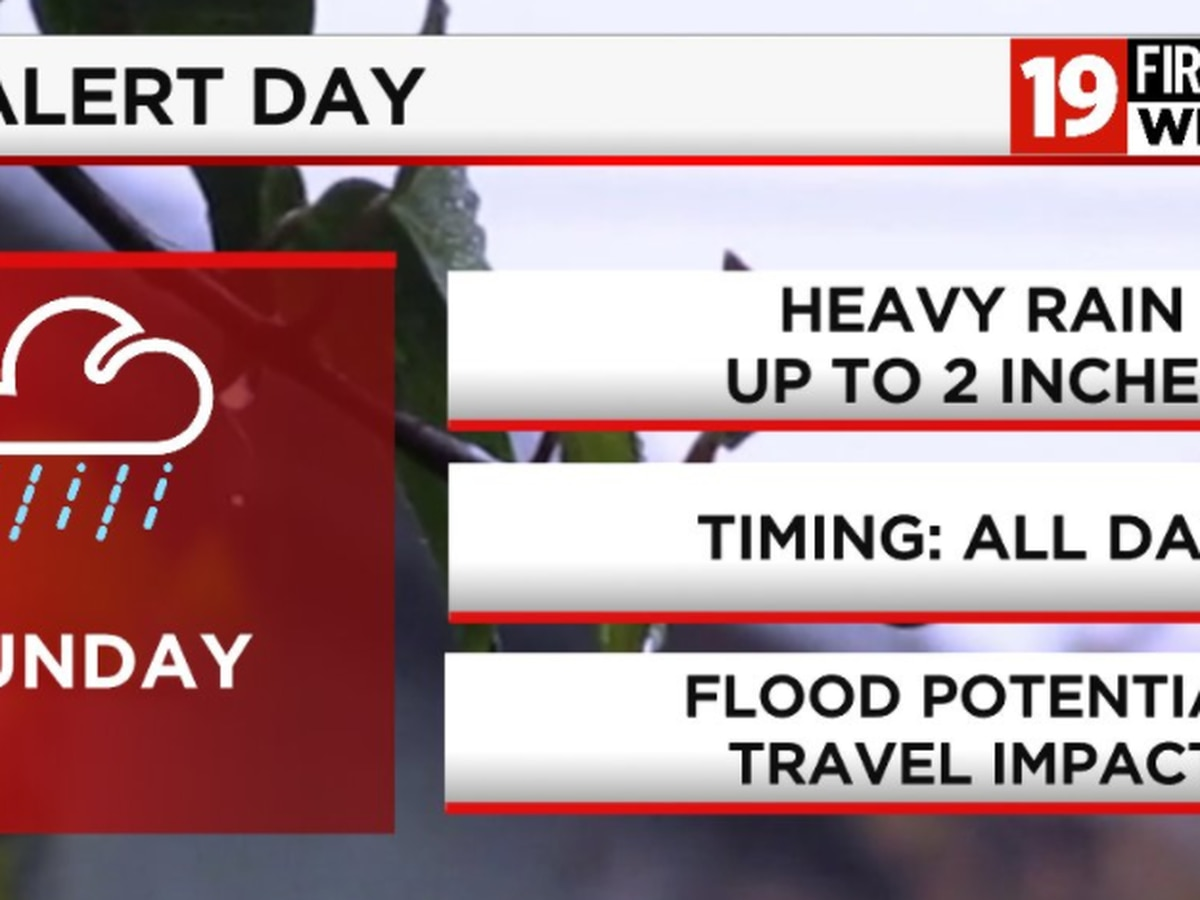 19 First Alert Weather Day: Concerns for heavy rain, flooding on Sunday