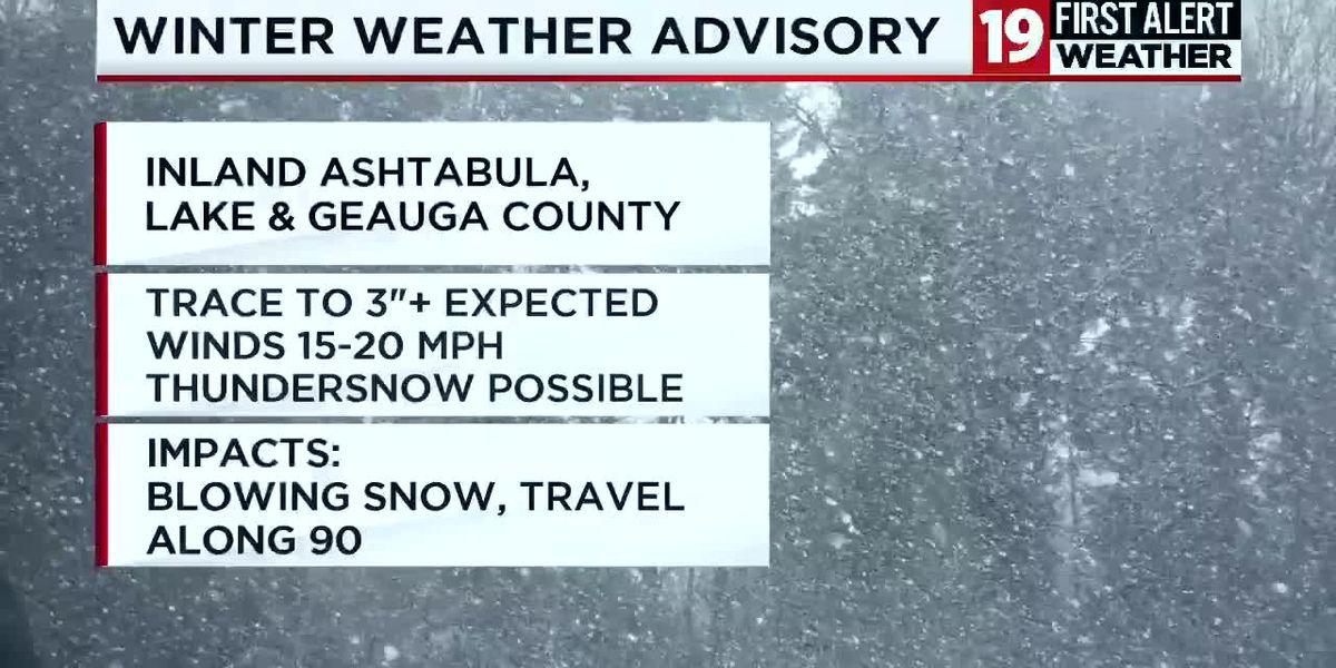 Northeast Ohio weather: Winter Weather Advisory for inland Ashtabula, Lake & Geauga counties