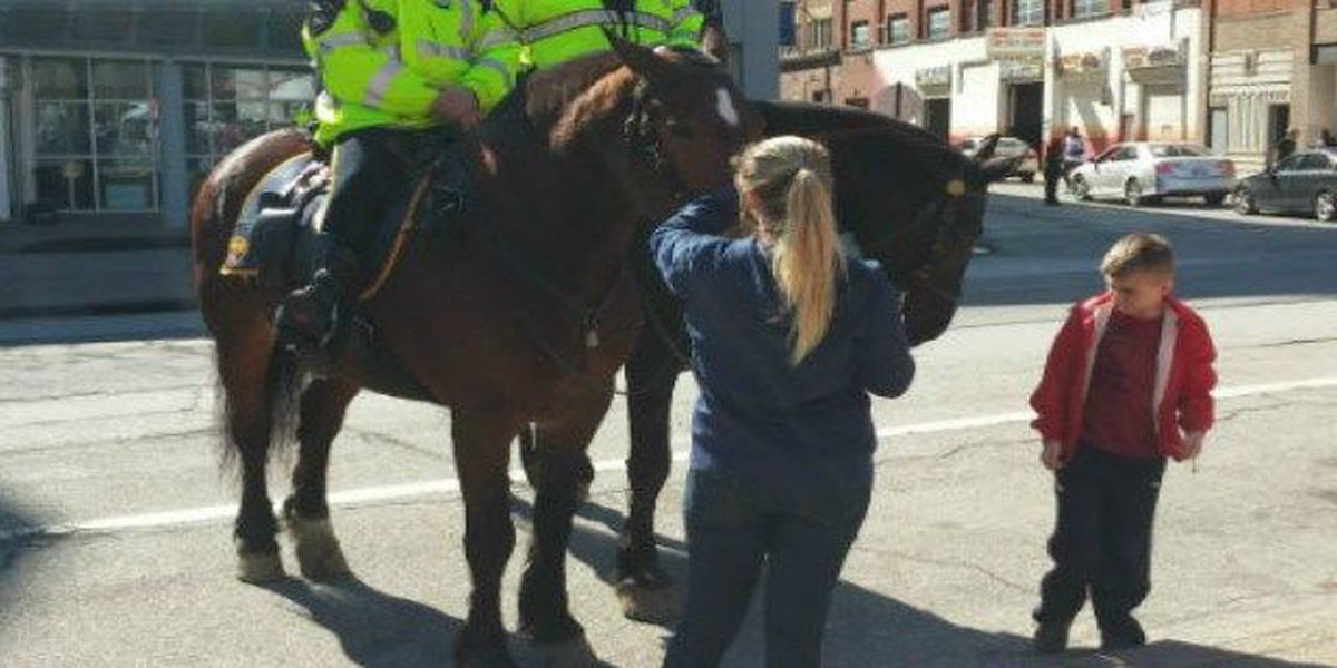 Police horses on patrol at Cleveland State University campus