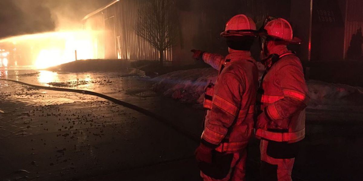 Warehouses catch on fire at Cleveland's Industrial Parkway after underground gas leak