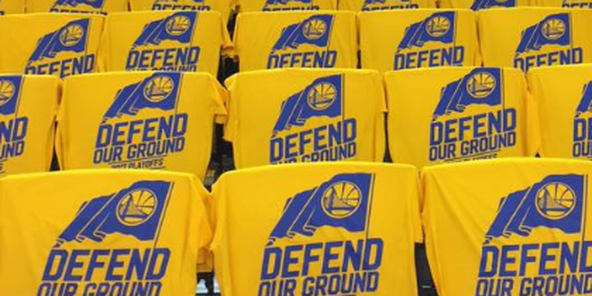 Warriors playoff shirt says 'Defend Our Ground'