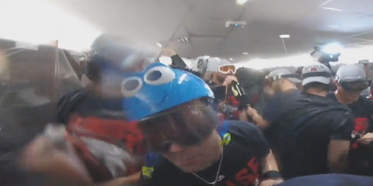 The Indians' ALCS celebration included a Dory helmet
