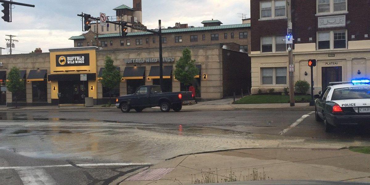 Water main break blocks off road in Cleveland Heights