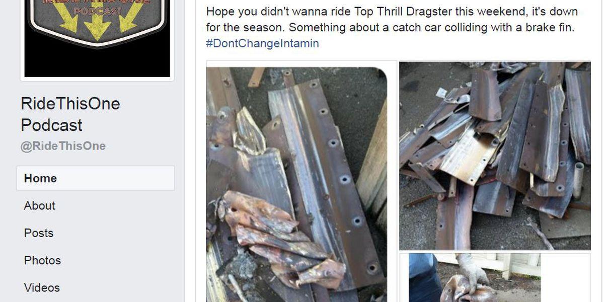 Cedar Point's Top Thrill Dragster still closed, undergoing maintenance