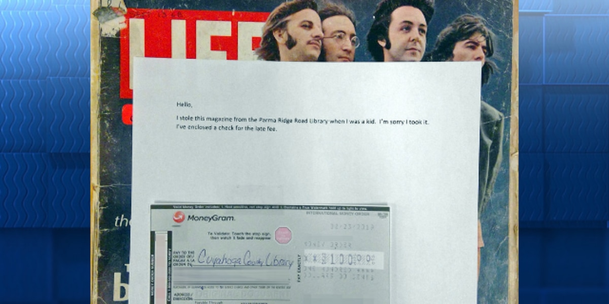 1968 Life magazine with Beatles on cover returned to Cuyahoga County library with check covering late fees