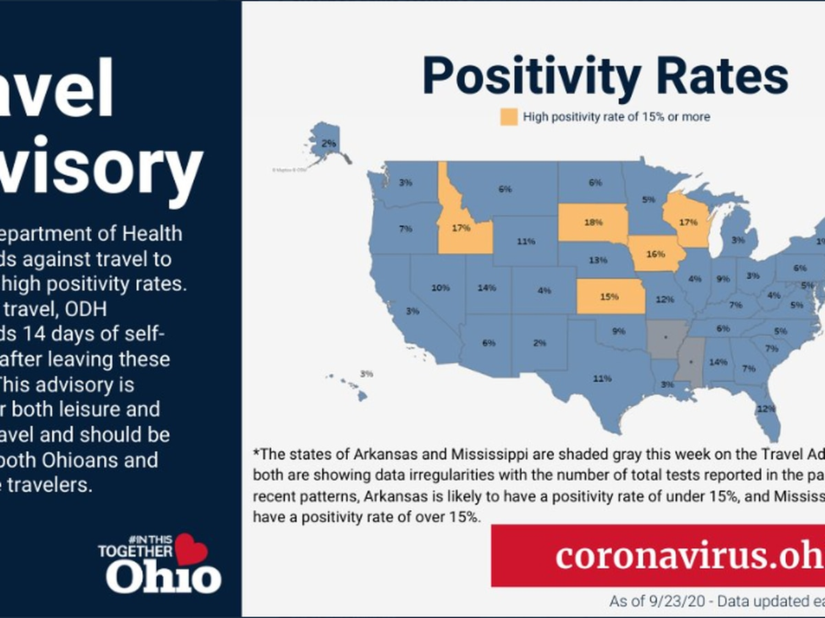 5 states now listed on Ohio's COVID-19 travel advisory map; self-quarantine recommended for 14 days
