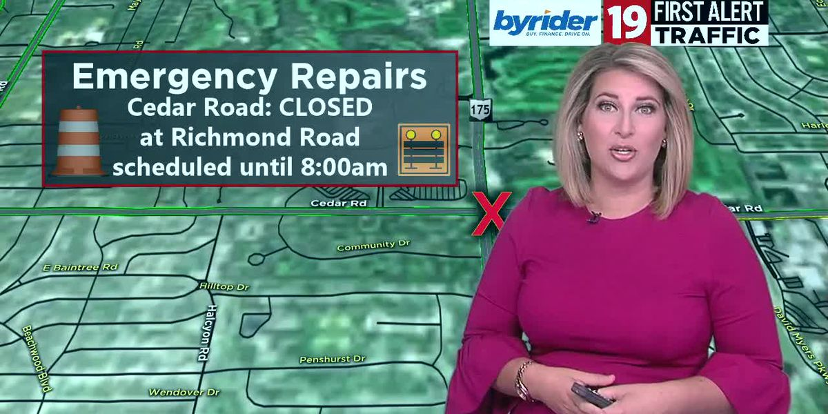 19 Traffic Alert: Cedar Road will be closed at Richmond Road for electrical repairs