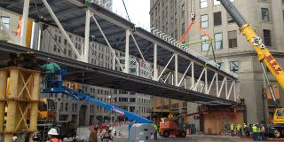Framework for the Horseshoe Casino's pedestrian walkway goes up
