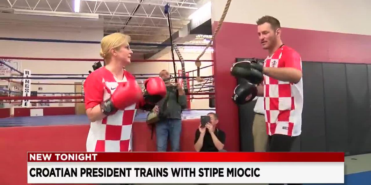 Croatian president pays a visit to Valley View and spars with UFC champ Stipe Miocic
