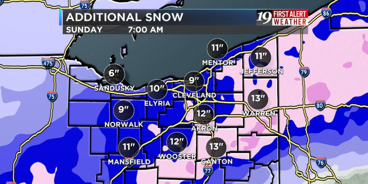 Northeast Ohio Weather: Updated projections show most cities will get 9 inches of snow this weekend