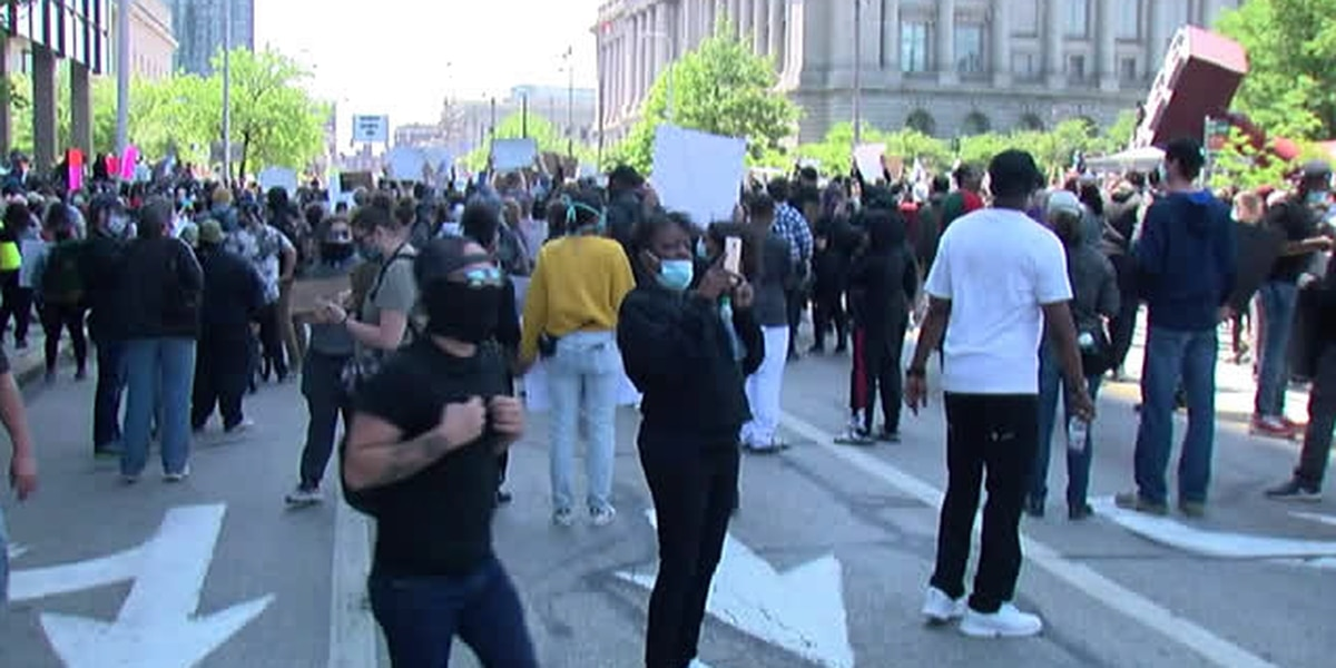 Black Lives Matter protests in Downtown Cleveland in wake of George Floyd's death