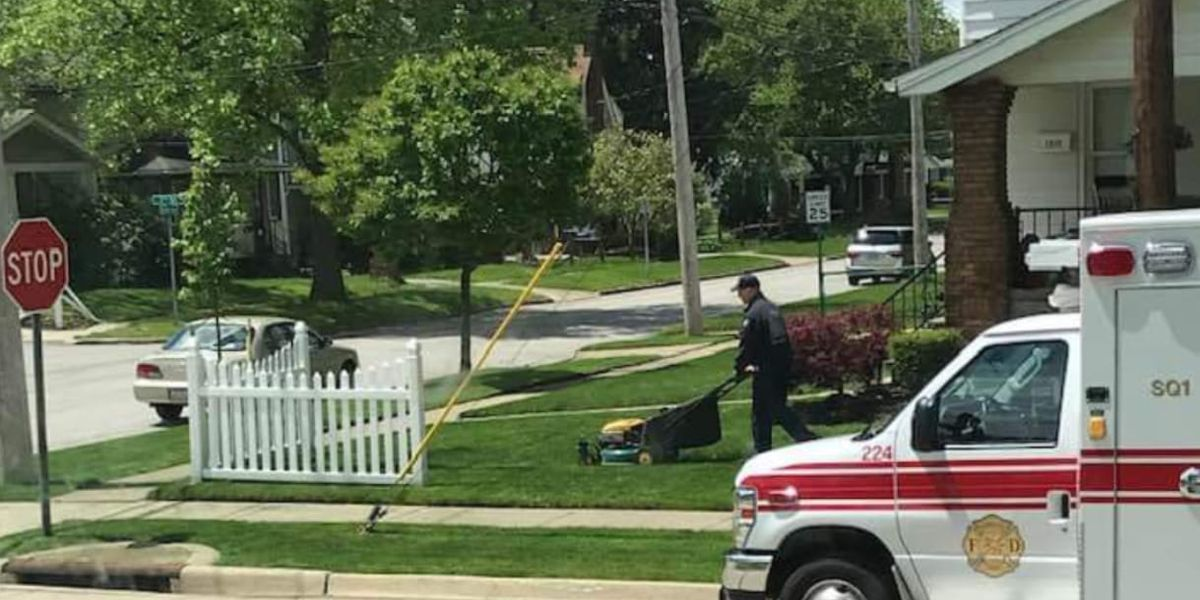 Cuyahoga Falls firefighter finishes mowing grass for patient