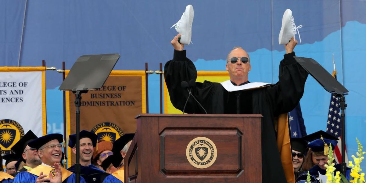 Actor Michael Keaton delivers reflective speech at Kent State commencement