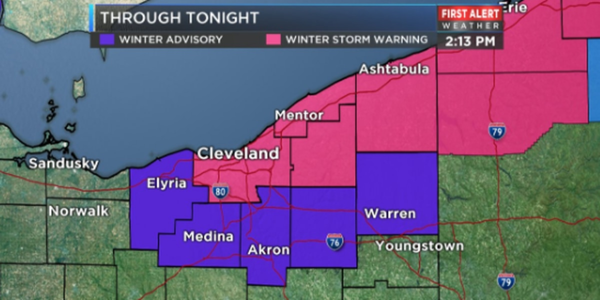 Winter Storm Warning issued in Cuyahoga County, timeline of forecast