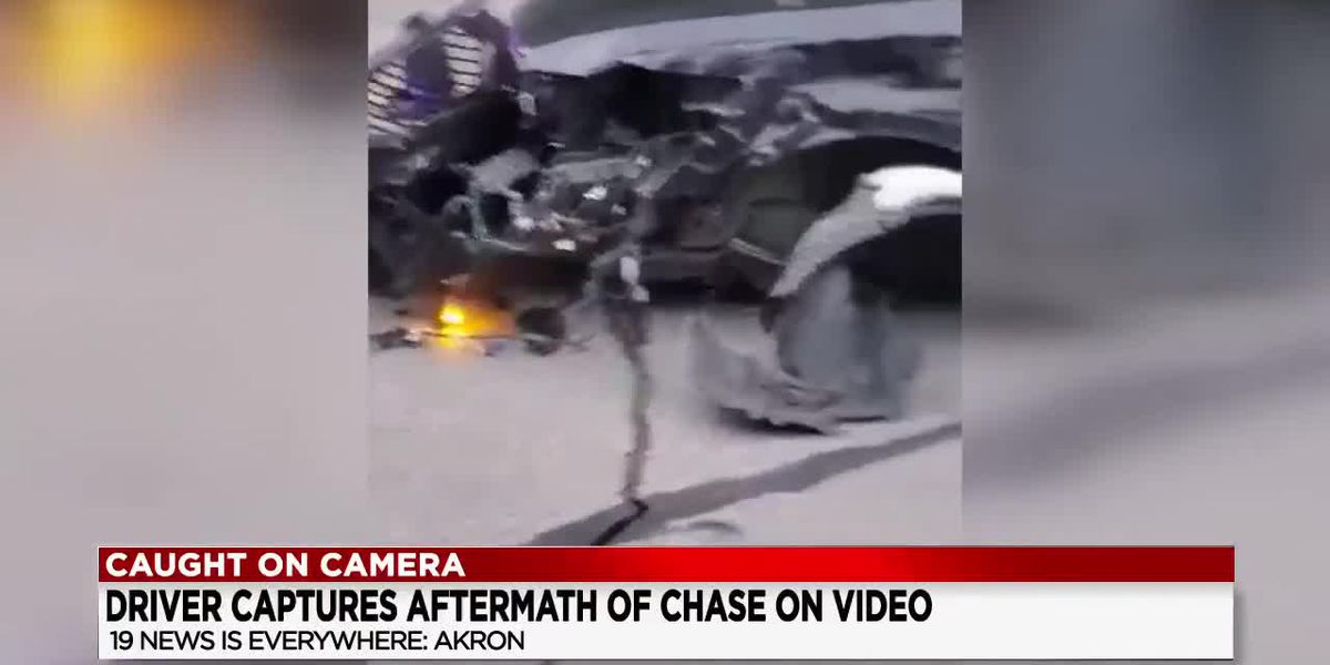 Akron police chase ends in crash with cruiser (video)