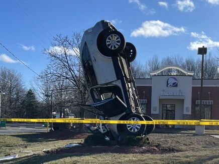 Crash near Taco Bell in Westlake leaves car standing straight up (photos)