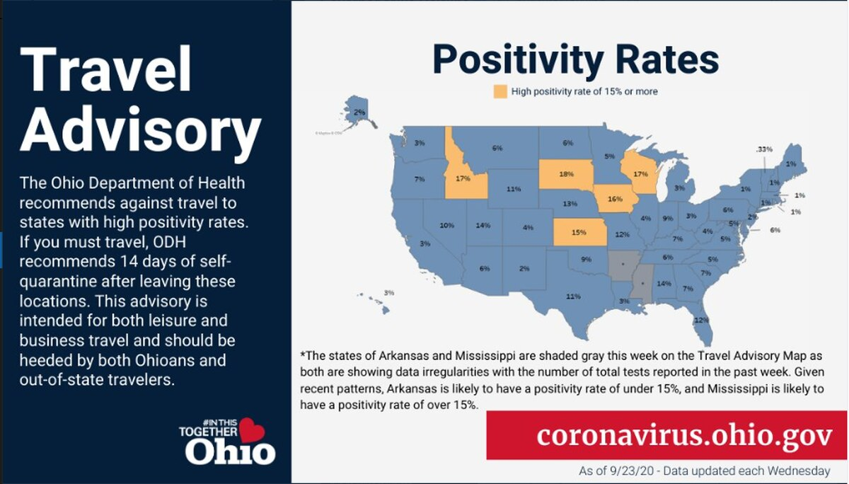 5 States Now Listed On Ohio S Covid 19 Travel Advisory Map Self Quarantine Recommended For 14 Days