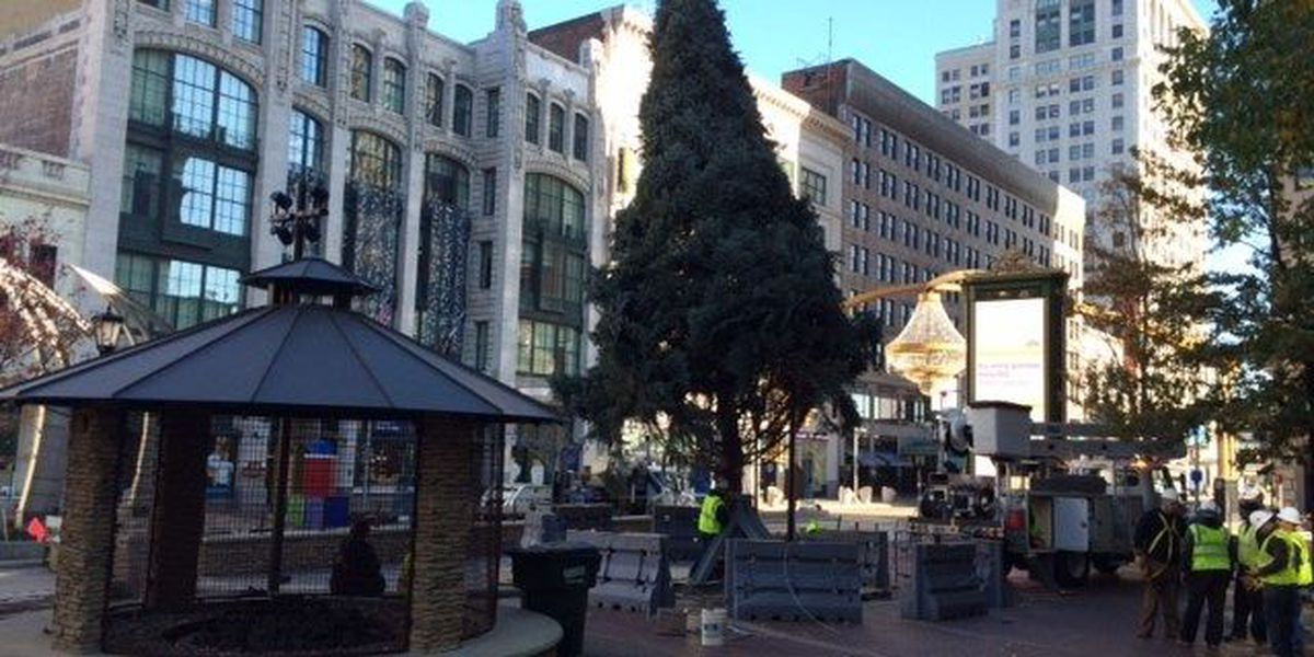 Holiday tree arrives at Playhouse Square