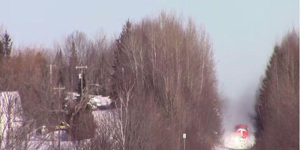 Amazing video: Train plows through a fresh blanket of snow