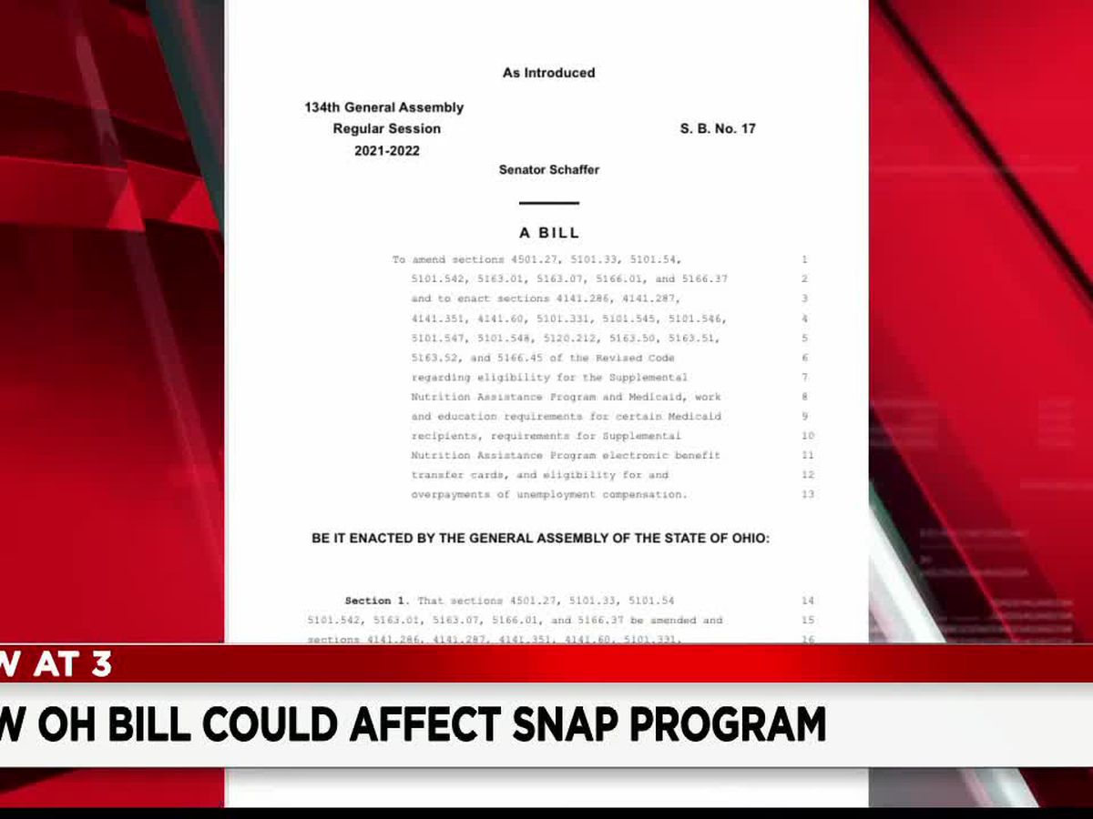 More than 100,000 Ohioans could lose SNAP Program benefits under proposed bill
