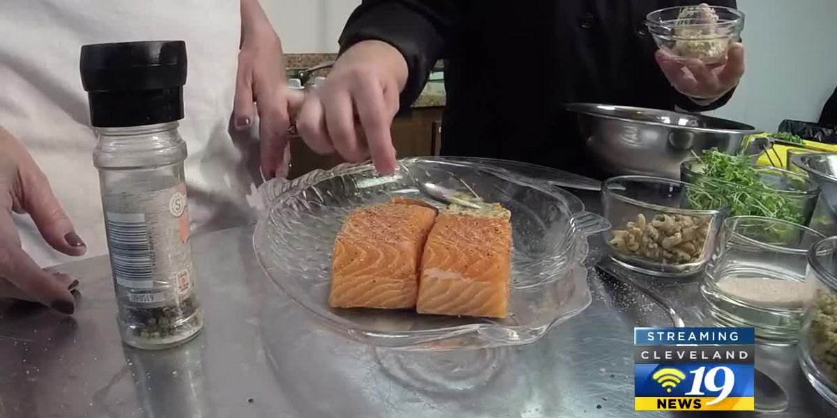 Cleveland Cooks: Heart-healthy walnut crusted salmon with grape salsa from Freshly Rooted