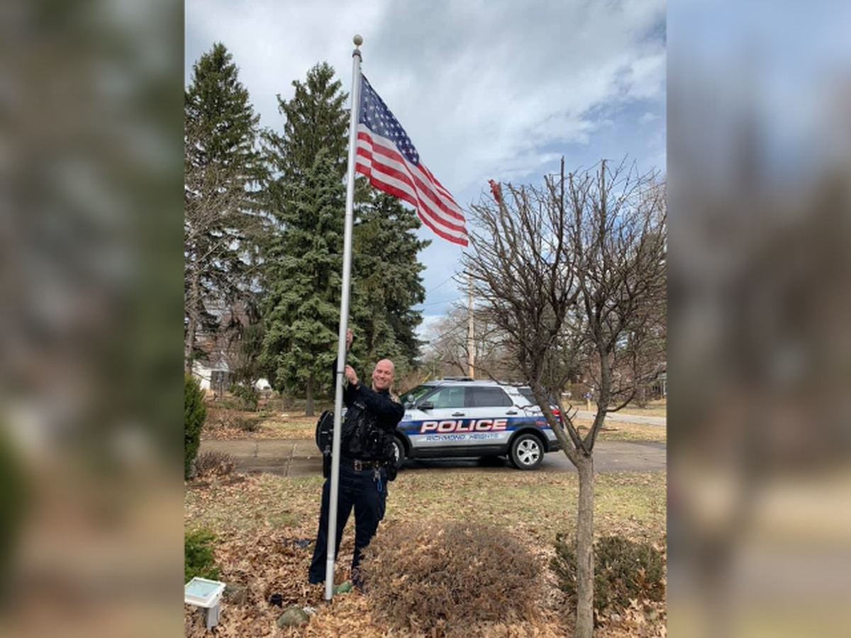 Richmond Heights cops buy new American flag to replace elderly resident's tattered one