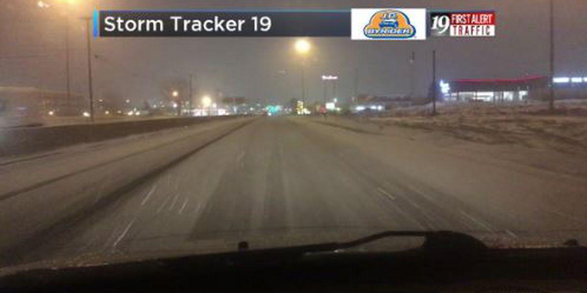 Overnight snow covers roads in Northeast Ohio