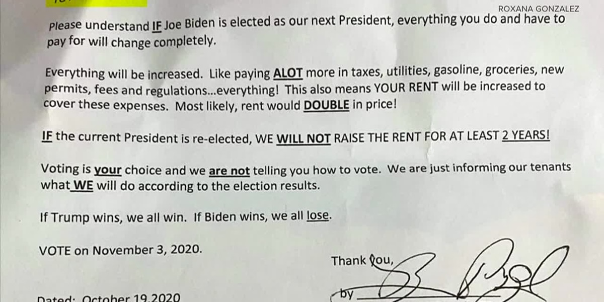 Letter from landlord implies rent will double if Biden is elected