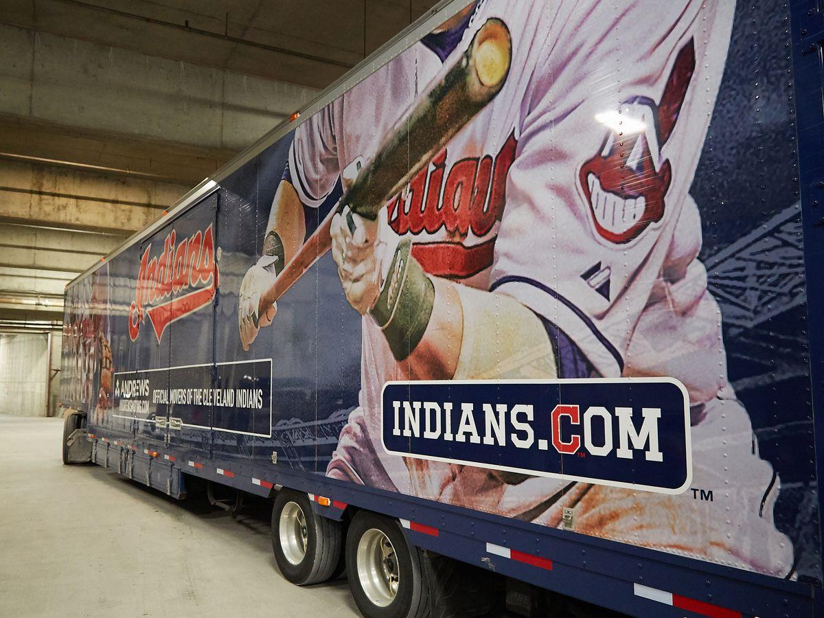 Indians equipment trucks depart for spring training