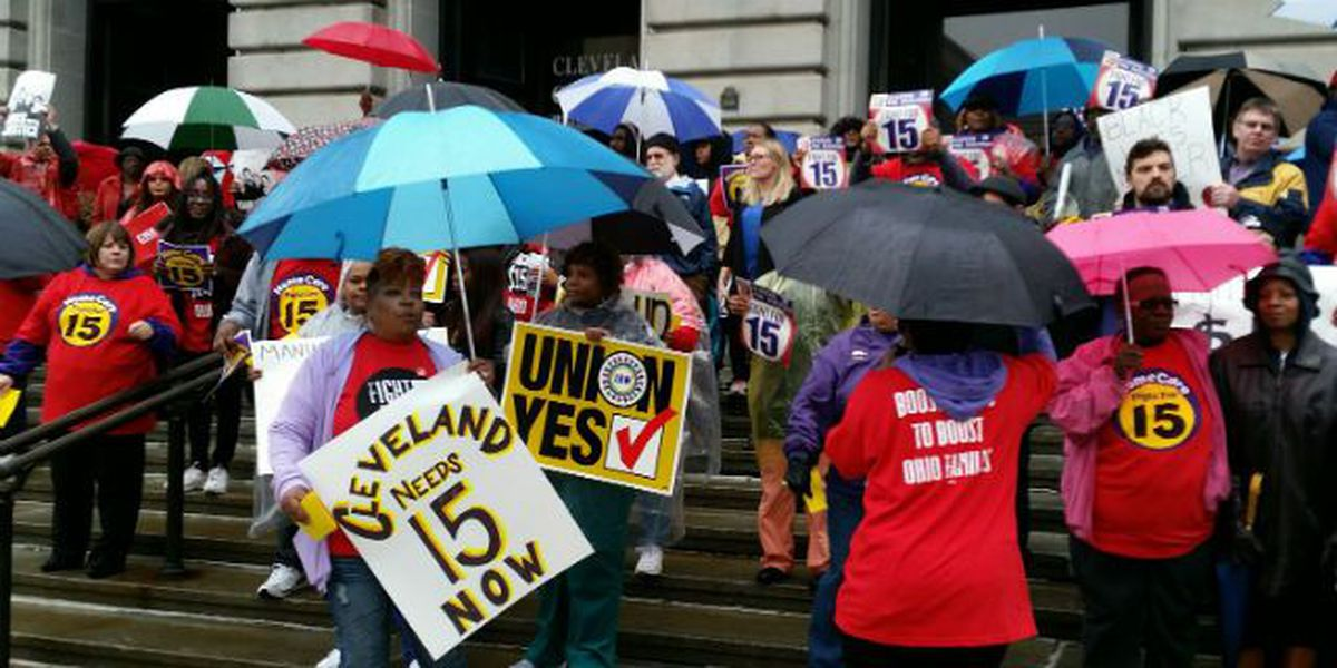 Minimum wage workers strike, protest outside City Hall