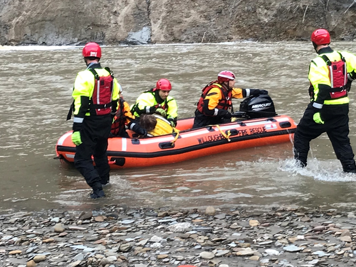 First responders save woman stuck at base of 100 feet deep riverbank after kayak capsizes in Willoughby Hills