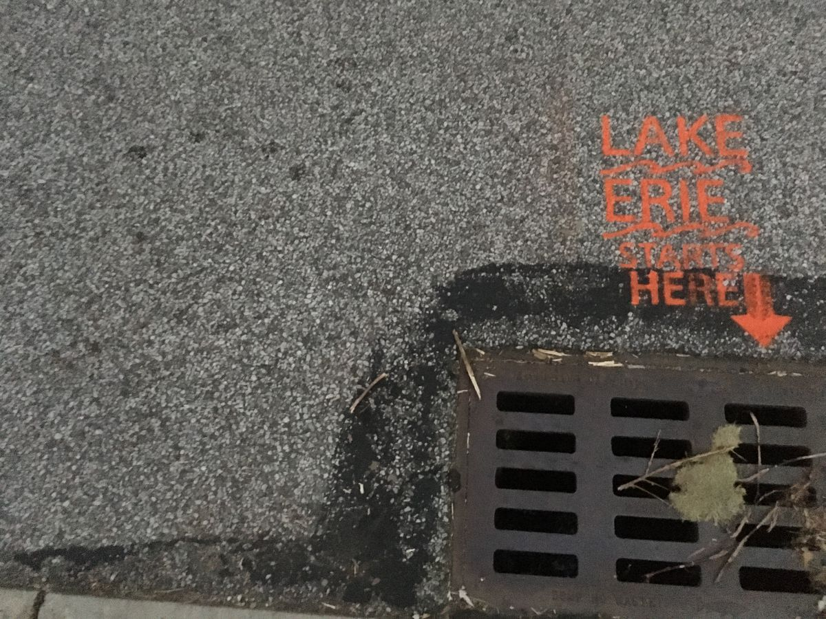 Who is painting 'Lake Erie Starts Here' next to hundreds of street sewers ... and why?