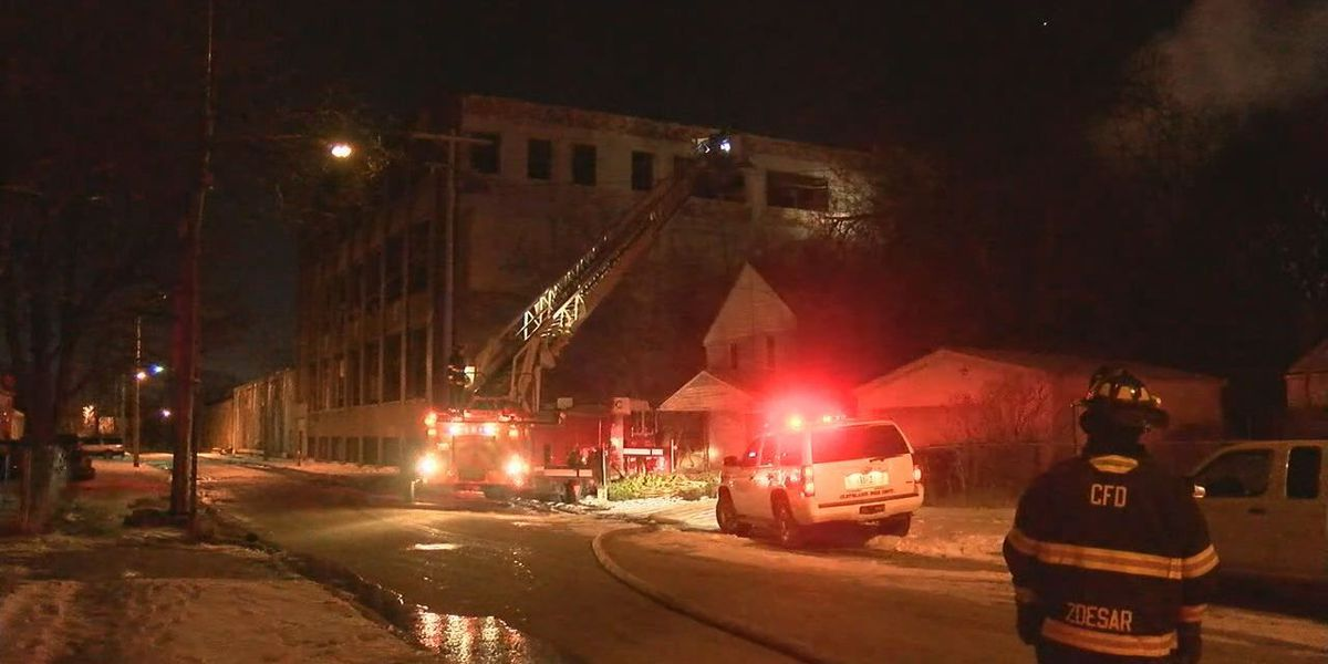 Cleveland Firefighters Battle Warehouse Fire for Hours