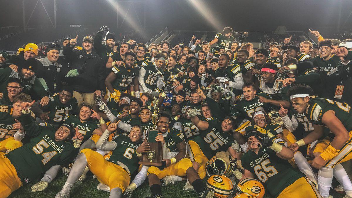 St. Edward Eagles football team celebrates Ohio championship with high school rally